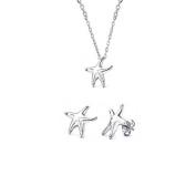 Bling Jewellery Sterling Silver Mini Starfish Pendant and Stud Earrings Jewellery Set