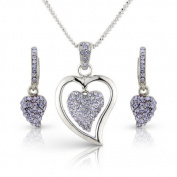 Crystal Elegance UK Mothers Day Present - White Gold Plated Silver Tone - Purple Lilac Amethyst. Elements Crystals - Heart Necklace And Earrings - Gift Set - Gift Boxed