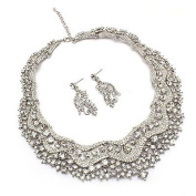 Bridal Wedding Jewellery Set Crystal Rhinestones Stunning Bib Necklace Silver