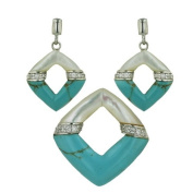 Rhombus Turquoise and Mother-of-Pearl Earring and Pendant Set