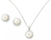 Bella Pearl Halo Cubic Zirconia Jewellery Set