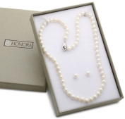 Honora White Freshwater Cultured Pearl 45.7cm Necklace and Stud Earrings Set