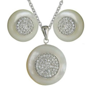 Sterling Silver White Mother-of-Pearl Round with Clear Cubic Zirconia Rhodium Plating, Nickle Free Earrings and Pendant Set 40.6cm chain