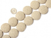 "27mm coin cream white lava rock beads strand 15"""