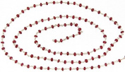 Faceted Ruby Beaded Chain (Price Per Metre) - Sterling Silver