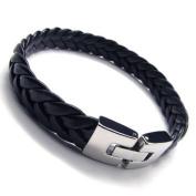 KONOV Jewellery Men's Stainless Steel Leather Bracelet - Black Silver - 22.9cm