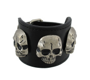 Black Leather Triple Chrome Skull Wristband Bracelet Punk