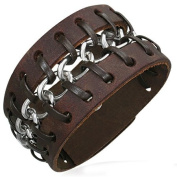 Brown Leather with Chain Cuff Bracelet, Fits 7 to 20.3cm
