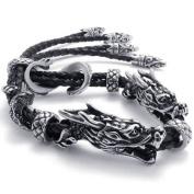 KONOV Jewellery Leather Stainless Steel Double Dragon Mens Bracelet - Colour Black Silver