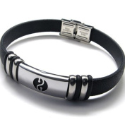 K Mega Jewellery Stainless Steel Black Rubber Mens Bracelet 22.6cm