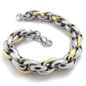 KONOV Jewellery 2-Tone Polished Stainless Steel Link Men's Bracelet - Colour Gold Silver - 21.6cm