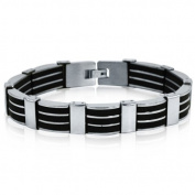 Men's Stainless Steel 3-Row Black Rubber Bracelet 21cm