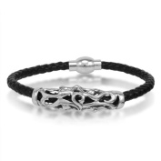 Braided Black Leather Mens Bracelet 5 mm 8 1/2 inches with Magnetic Stainless Steel Clasp