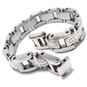 KONOV Heavy Cross Stainless Steel Men's Bracelet, Silver, 22.9cm
