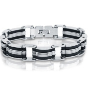 Stainless Steel with Black Rubber Mens Chain Link Bracelet 20.3cm