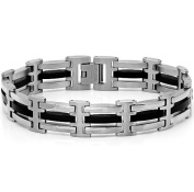 Mens Stainless Steel and Black Rubber Link Bracelet 21.6cm