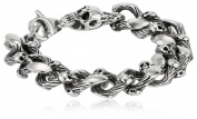 Men's Stainless Steel Skull Curb Bracelet, 21.6cm