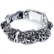 """Stainless Steel Carved Cross Bones Skull Men Boy Bracelet 23mm 8.4"""""""