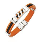 Men's Stainless Steel Black and Orange Rubber Bracelet