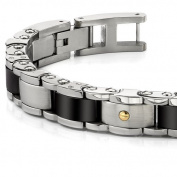 Heavy Duty Stainless Steel and 18 Karat Gold Mens Bracelet