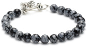 King Baby Men's Toggle Clasp Snowflake Agate Bracelet