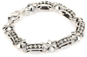 King Baby Men's MB Cross Light Link Sterling Silver Bracelet
