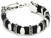 "King Baby ""Leather"" Men's Black Stingray Bracelet with 11 Silver Links"