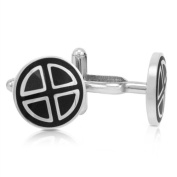 Mens Classic Stainless Steel and Black Enamel Cuff Links
