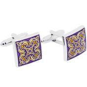 Purple Enamel Tracery Cufflinks Cuff links