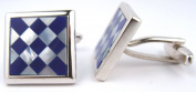 Mother of Pearl & Lapis Checkerboard Silver Frame Cufflinks Gift Boxed
