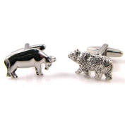 Silver Bull and Bear Cuff Links