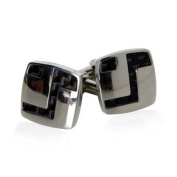 Edgy Dark Carbon Fibre Stainless Steel Cufflinks with Artistic Design by Cuff-Daddy