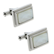 Mother Of Pearl Stainless Steel Men Cufflinks 14X20mm = 1/2 In X 3/4 In.