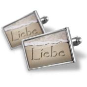 "Neonblond Cufflinks ""Love"" in German language written on beach - cuff links for man"