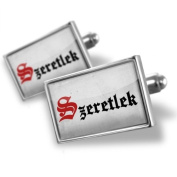 """Neonblond Cufflinks """"I Love You"""" Hungarian Classic Print from Hungary - cuff links for man"""