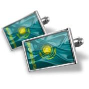 """Neonblond Cufflinks """"Kazakhstan 3D Flag"""" - cuff links for man"""
