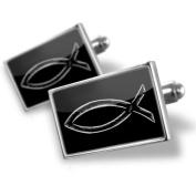 Neonblond Cufflinks Jesus Logo fish black - cuff links for man