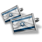 "Neonblond Cufflinks ""Israel 3D Flag"" - cuff links for man"