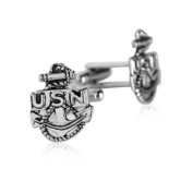 US Navy Anchor Cufflinks Silver By Jewellery Mountain