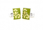 Victorian Green and Light Yellow Fusion Cufflinks