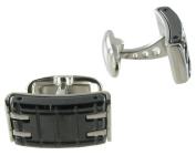 Rochet Roma Stainless Steel Black Metro Cufflinks