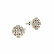 The Vatican Library Collection Rose Gold and Silver Tone Jerusalem Cross Cuff Links 1.3cm Men's Jewellery