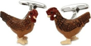 Rooster Cock Cufflinks Hand Painted by Cuff-Daddy