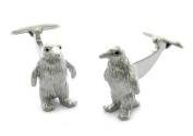 Silver Penguin Cufflinks with. Eyes by Cuff-Daddy