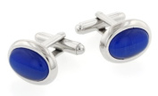 JJ Weston Oval Dark Blue Cats Eye Cufflinks with Presentation Box. Made in the USA