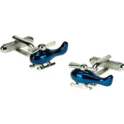 Blue Helicopter Cuff Links