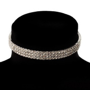 3-Row. Crystal Choker Necklace