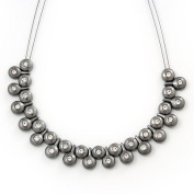 Polished/Matt Black Tone Diamante Bead Wire Necklace - 36cm Length/ 7cm Extender