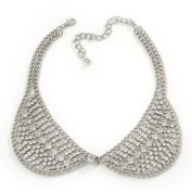 Clear. Crystal Peter Pan Collar Necklace In Silver Plating - 36cm Length/ 11cm Extension