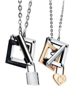 His & Hers Matching Set Lock Your Heart Couple Titanium Pendant Necklace Simple Korean Love Style in a Gift Box